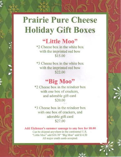 Prairie Pure Cheese Holiday Gift Boxes make the perfect gift.  Simply delicious!